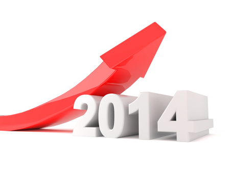 red arrow turning upwards over a 2014 text Stok Fotoğraf