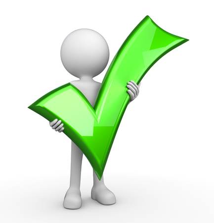 approval icon: 3d render illustration of a white 3d human holding a green tick symbol