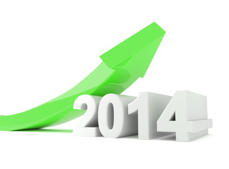 3d render illustration of a green arrow turning upwards over a 2014 text