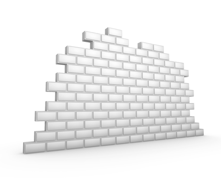 3d render illustration of a blank white brick wall