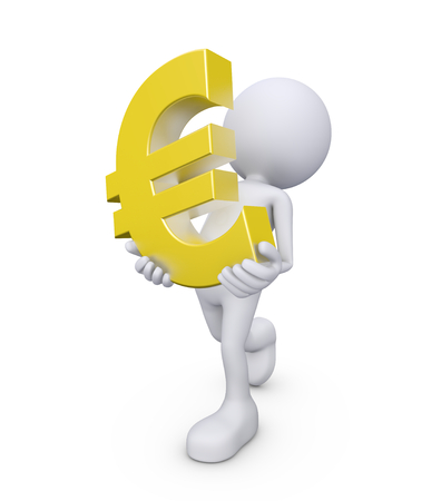 3d render illustration of a white 3d human carrying a euro symbol