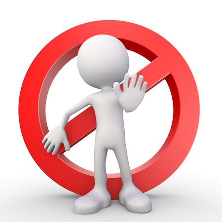 disallowed: 3d render illustration of a white 3d human standing in front of a stop symbol