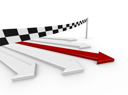 3d render illustration of 5 arrows reaching the finishing line illustration