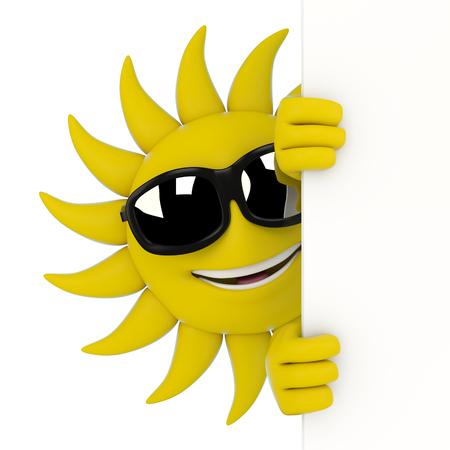 3d ilustración de un carácter sol escondiéndose detrás de una pared Foto de archivo