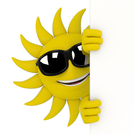 3d render illustration of a sun character hiding behind a wall