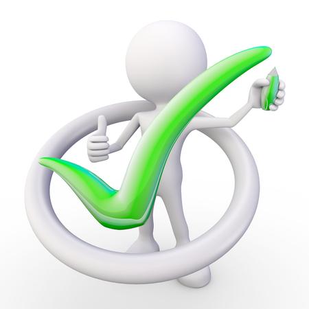 3d render illustration of a white 3d human drawing a green hook symbol illustration