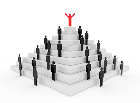 3d render illustration of a red stickman on top of a pyramid illustration