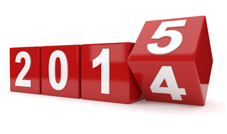 3d render illustration of 2014 year cubes changing to 2015