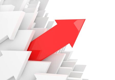 moving in: render illustration of a red 3d arrow moving in front of other arrows Stock Photo