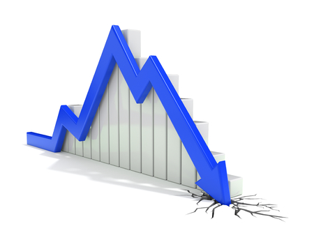 market crash: render 3d illustration of a blue arrow breaking through the ground