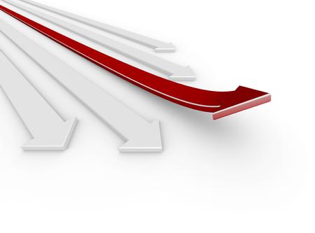 bends: 3D render illustration - red arrow bends up