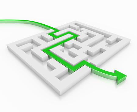 3D render illustration - green arrow leads through a maze Stok Fotoğraf