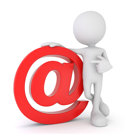 3D render illustration of a white 3d human pointing at a red email symbol Stok Fotoğraf