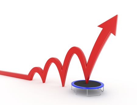 year increase: 3D render illustration - red arrow jumps on a trampoline and gets a boost