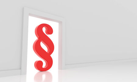 paragraf: 3D render illustration - Red paragraph symbol stands in doorway
