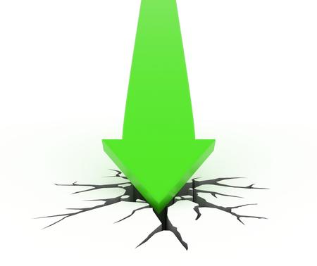 green arrow: 3D render illustration - green arrow crashes through the ground Stock Photo