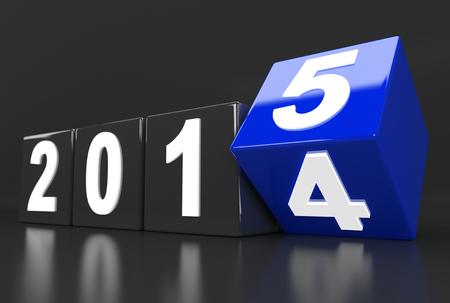 3D render illustration - Year 2014 changes to 2015 illustration
