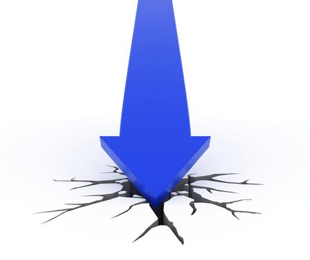 blue arrow: 3D render illustration - Blue arrow crashes through the ground Stock Photo
