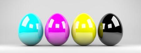 3D render illustration - cyan, magenta, yellow, black easter eggs background illustration