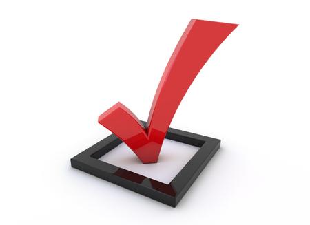 3d render illustration - red tick symbol - survey