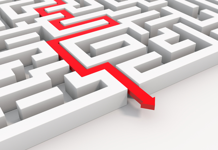 render illustration of a 3d red arrow leading through a maze