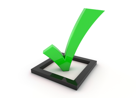 3D render illustration, green tick symbol in a black checkbox