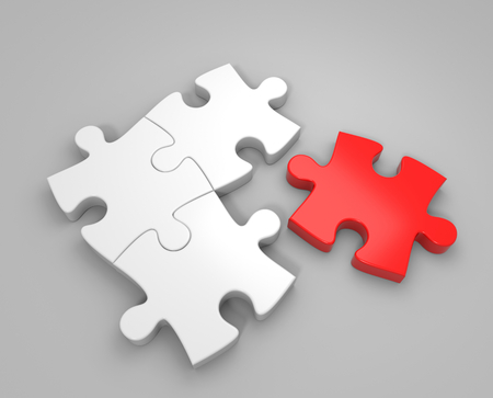 red puzzle piece: 3D render illustration, loose red puzzle piece Stock Photo