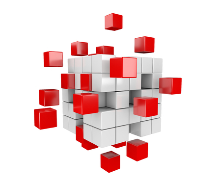 drifting: 3D render illustration, red and white cubes drifting apart Stock Photo