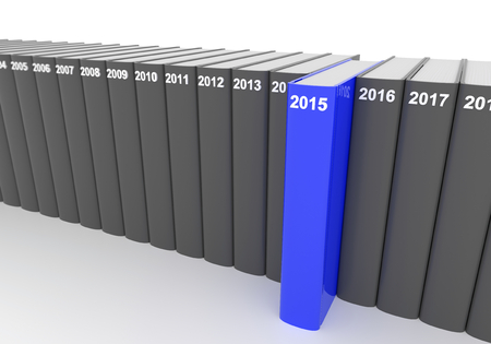 turns of the year: 3D render illustration - year books, 2015 stands out
