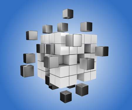 drifting: 3D render illustration, black and white cubes drifting apart, blue gradient background Stock Photo