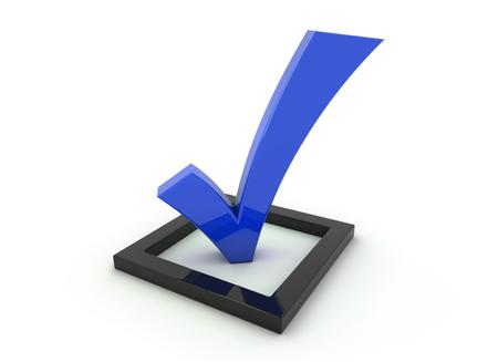 3D render illustration, blue tick symbol in a black checkbox Stok Fotoğraf