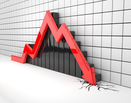 crisis economica: 3D rinden la ilustración, los accidentes de flechas rojas a través del suelo