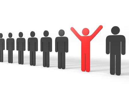3D render illustration, red stickman stands out from the masses