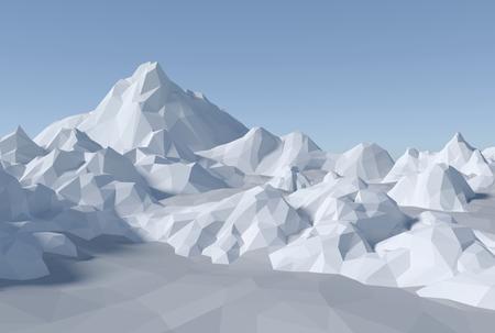 3D render illustration - lowpoly abstract landscape
