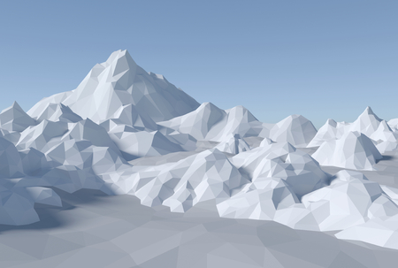 3D render illustration - lowpoly abstract landscape