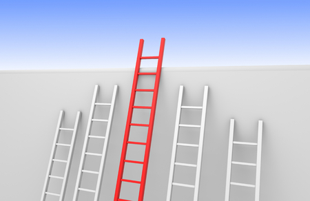 ladder safety: Five ladders leaning against a wall, one reaches the top