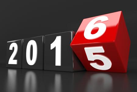 3D render illustration - Year 2015 changes to 2016 Stok Fotoğraf