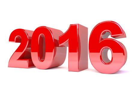 turns of the year: 3d render illustration - red 2016 text Stock Photo
