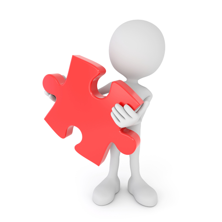 red puzzle piece: 3d render illustration - white human holds red puzzle piece Stock Photo