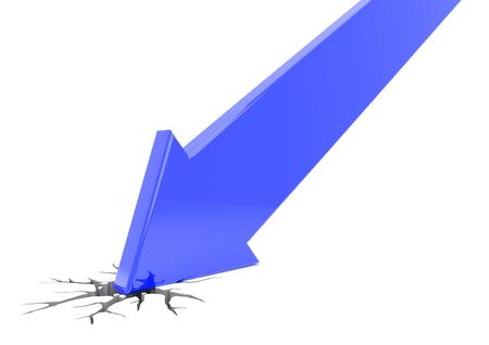 blue arrow: 3D render illustration, blue arrow crashes through the ground