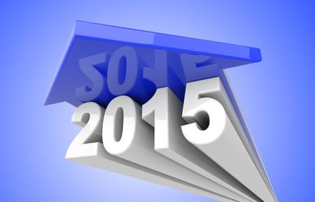 blue arrow: 3d render illustration, blue arrow over 2015 text Stock Photo