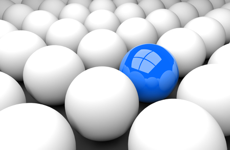 3d render illustration - blue sphere stands out