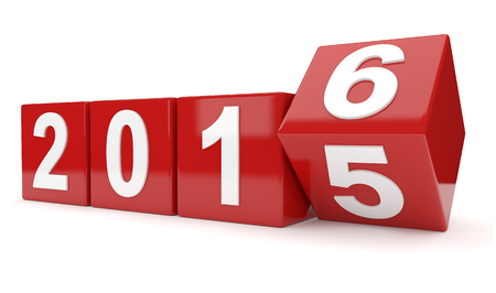 turns of the year: 3D render illustration - Year 2015 changes to 2016 Stock Photo