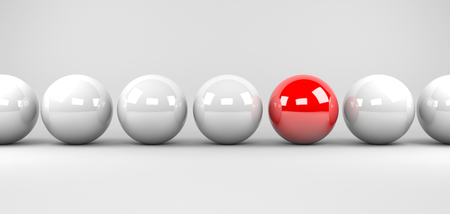 red sphere: 3d render illustration - red sphere stands out Stock Photo