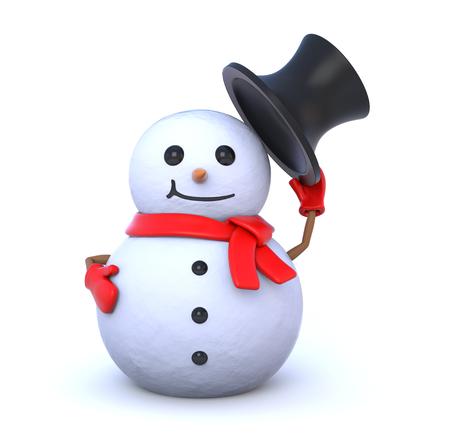 snowman 3d: 3d render illustration - small snowman takes off his hat