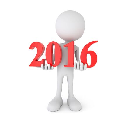 turns of the year: 3d render illustration - cartoon person holds 2016 text Stock Photo