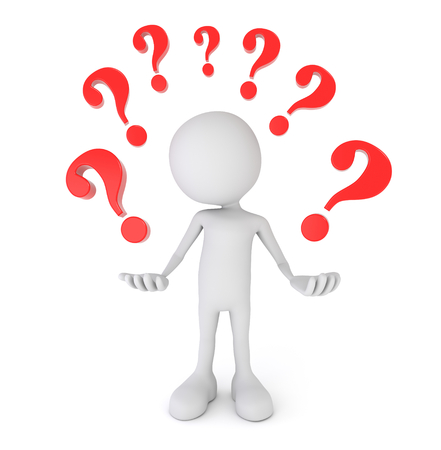 3D render illustration - white 3d person surrounded by question marks