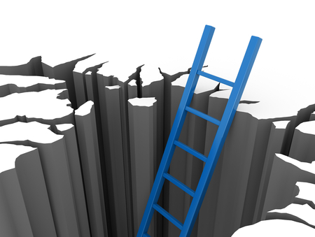 ladder safety: 3D render illustration - blue ladder leads out of a pit Stock Photo