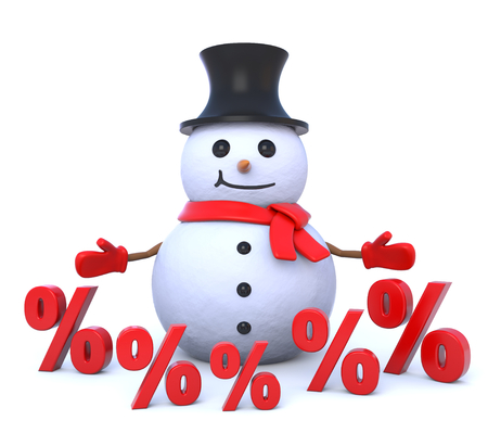 snowman 3d: 3d render illustration - small snowman surrounded by percent signs