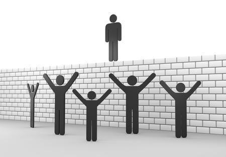 blockade: 3D render illustration - Stickman wall blockade